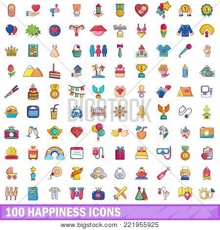 100 happiness icons set. Cartoon illustration of 100 happiness vector icons isolated on white background