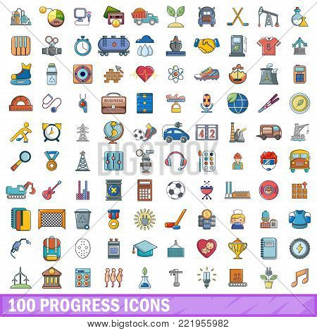 100 progress icons set. Cartoon illustration of 100 progress vector icons isolated on white background