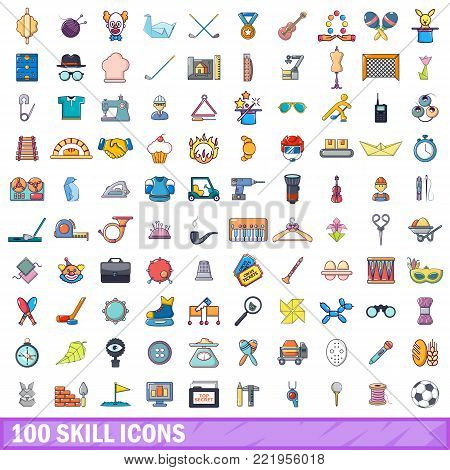 100 skill icons set. Cartoon illustration of 100 skill vector icons isolated on white background