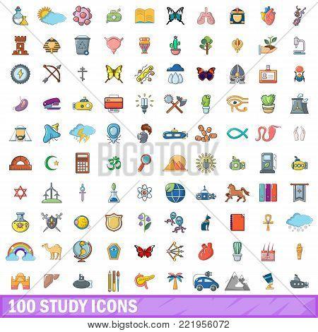 100 study icons set. Cartoon illustration of 100 study vector icons isolated on white background