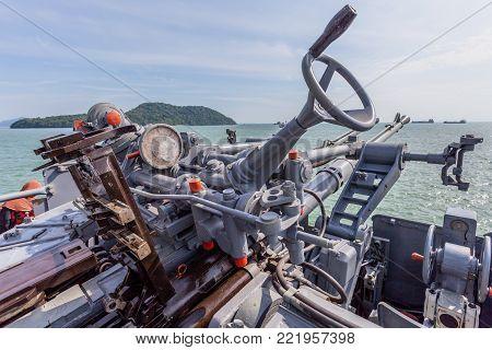 A Shooting Gun On The Battleship