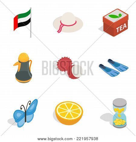 Emirate icons set. Isometric set of 9 emirate vector icons for web isolated on white background