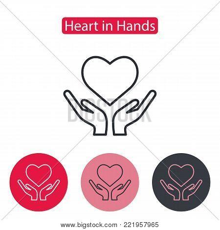 Heart Hand Icon Vector Photo Free Trial Bigstock