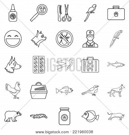 Domestic animal icons set. Outline set of 25 domestic animal vector icons for web isolated on white background