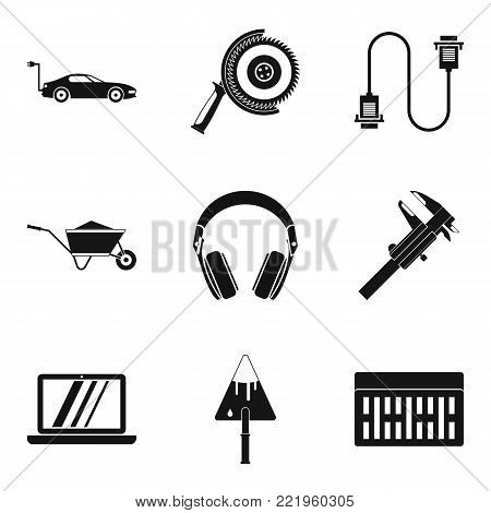 Mechanic icons set. Simple set of 9 mechanic vector icons for web isolated on white background