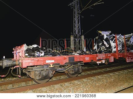SAKVICE, THE CZECH REPUBLIC -  JANUARY 14, 2018: The crashed car is transported away. Real car crash with train. The woman driver is dead.