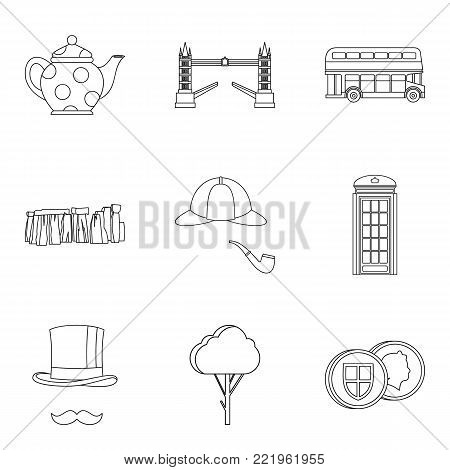 England icons set. Outline set of 9 england vector icons for web isolated on white background