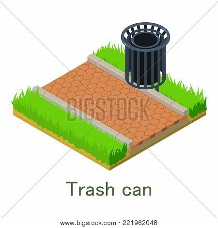Trash can icon. Isometric illustration of trash can vector icon for web.