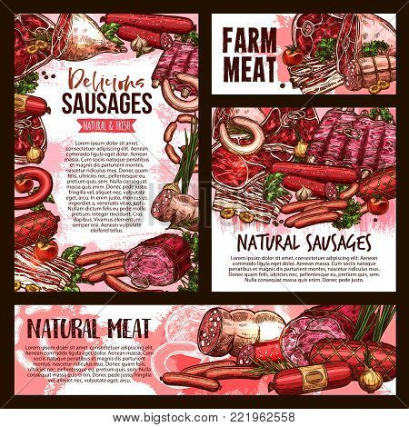 Fresh meat and sausages sketch poster and banner for butcher shop or gourmet farm product market. Vector pork bacon or tenderloin and beef steak, pepperoni or salami sausage, filet or lamb brisket