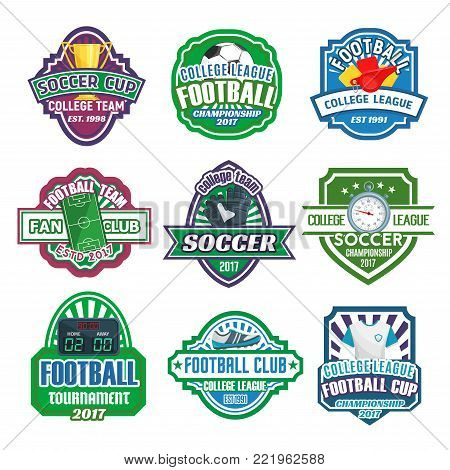 Soccer college league cup or football fan club championship icons set. Vector badges of soccer ball at arena stadium, victory cup and goal star on champion laurel wreath and crown for soccer team game