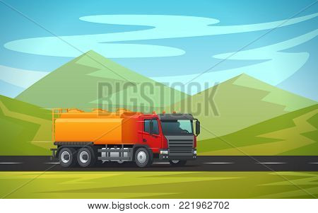 Tank truck or cistern trailer and tanker trailer transporting water, oil or petrol gas on green mountain nature landscape. Vector delivery or transportation load car and cargo shipment lorry