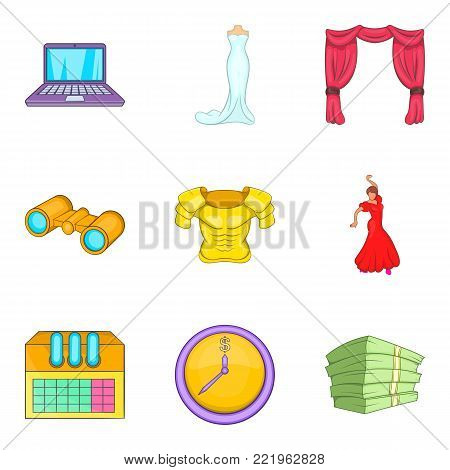 Cultural centre icons set. Cartoon set of 9 cultural centre vector icons for web isolated on white background