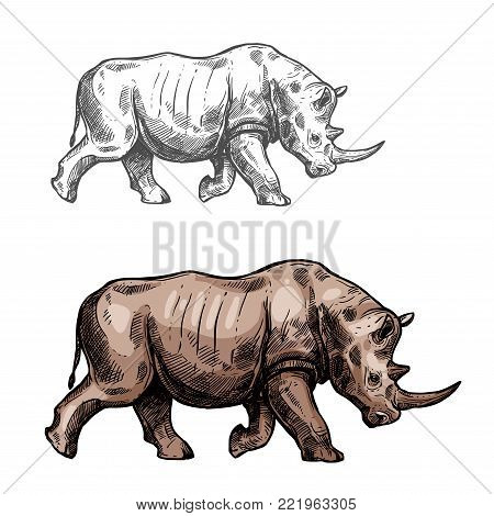 Rhinoceros wild animal sketch vector icon side view. Wild rhino mammal species for wildlife fauna and zoology or hunting sport team trophy symbol and nature zoo adventure club design