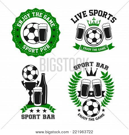 Soccer sports bar or football fan club beer pub icon templates. Vector isolated labels of beer drink and football ball or soccer cup for live team league championship or game tournament