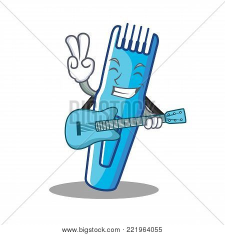 With guitar trimmer mascot cartoon style vector illustration