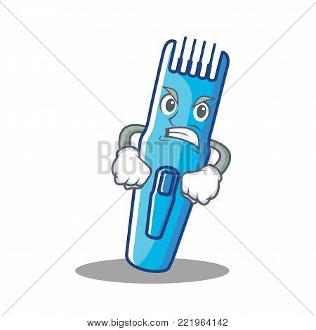 Angry trimmer mascot cartoon style vector illustration