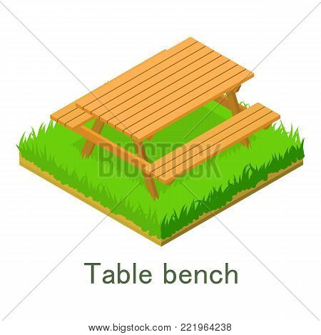Table bench icon. Isometric illustration of table bench vector icon for web.
