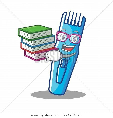 Student with book trimmer mascot cartoon style vector illustration