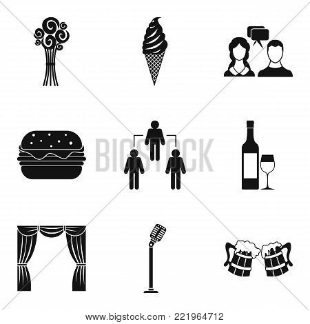 Occasion icons set. Simple set of 9 occasion vector icons for web isolated on white background