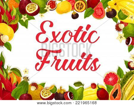 Exotic fruits of tropic fruit harvest for farm market or shop. Vector poster design of tropical juicy lychee, carambola or papaya and passion fruit maracuya or durian and grapefruit, banana and kiwi