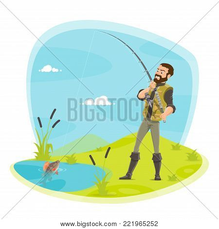 Fisherman on fishing with fish catch on rod hook pulling from lake. Vector flat design of fisher man in rubber boots at river with fish catch on rod and tackles with pike, crucian or trout