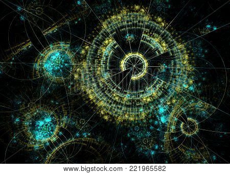 Wide Abstract SteamPunk  Background - Fractal Art