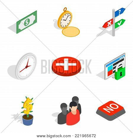 Cash nexus icons set. Isometric set of 9 cash nexus vector icons for web isolated on white background