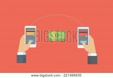 Online Money Transfer Illustration. People send money online to another with smartphone