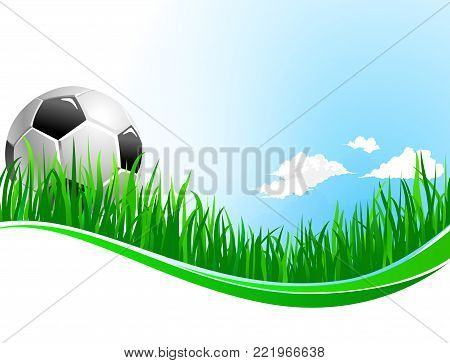 Soccer or football game background design template for fan club or college team championship and sport tournament. Vector soccer ball on arena stadium grass field and clouds on sky