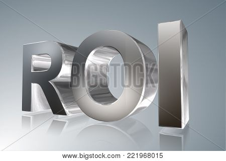 Accounting term - ROI-Return on Investment- 3D image