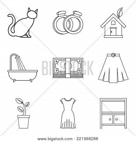 Family relationship icons set. Outline set of 9 family relationship vector icons for web isolated on white background