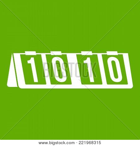 Tennis scoreboard icon white isolated on green background. Vector illustration