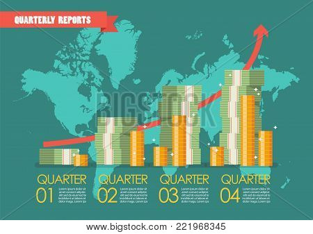 Quarterly reports with wolrld map infographic. Vector illustration