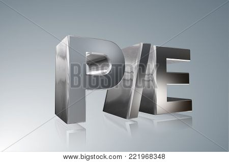 Accounting term - P/E - Price-to-Earnings Ratio- 3D image