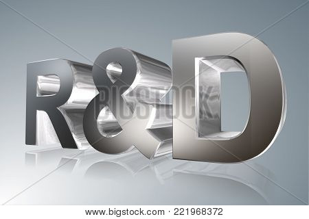 Accounting term - R&D - Research and Development  - 3D image