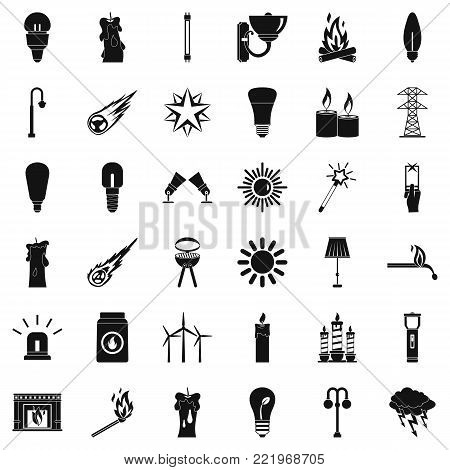 Light source icons set. Simple style of 36 light source vector icons for web isolated on white background