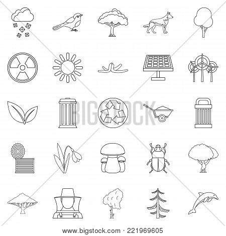 Ecological care icons set. Outline set of 25 ecological care vector icons for web isolated on white background
