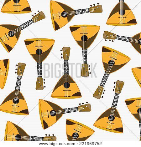 Pattern from music instrument balalaika on white background