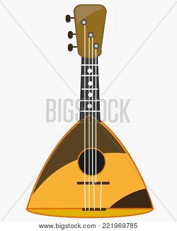 National music instrument balalaika on white background is insulated