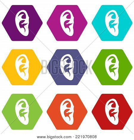 Ear icon set many color hexahedron isolated on white vector illustration