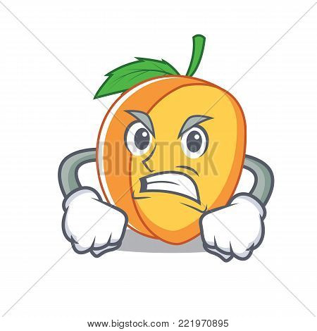 Angry apricot mascot cartoon style vector illustration