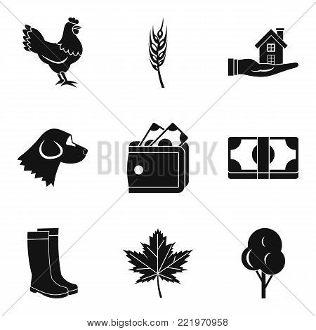Country economy icons set. Simple set of 9 country economy vector icons for web isolated on white background