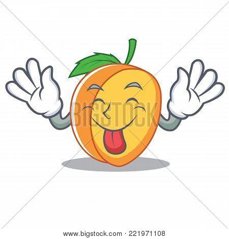 Tongue out apricot mascot cartoon style vector illustration