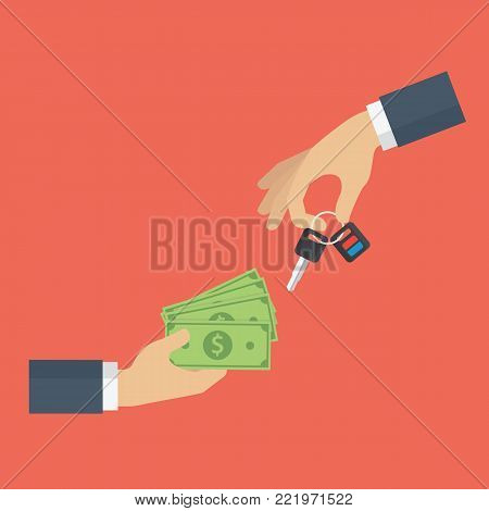 Car dealer gives car key to buyer. Hand holding car key and other hand holding money cash. Renting and Buying car concept