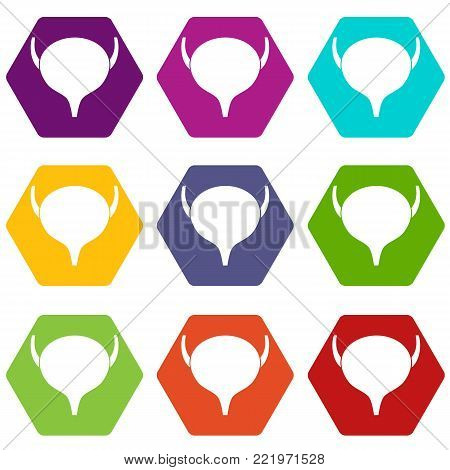 Bladder icon set many color hexahedron isolated on white vector illustration