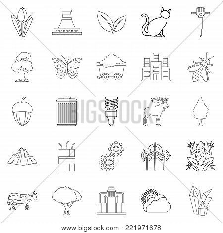Pollution of world icons set. Outline set of 25 pollution of world vector icons for web isolated on white background