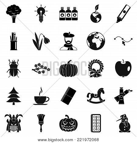 Ecological footprint icons set. Simple set of 25 ecological footprint vector icons for web isolated on white background