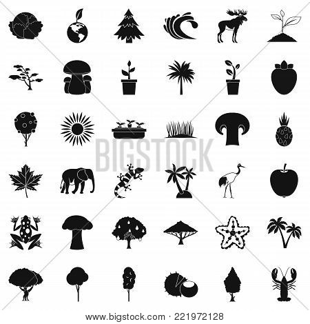 Climate icons set. Simple style of 36 climate vector icons for web isolated on white background