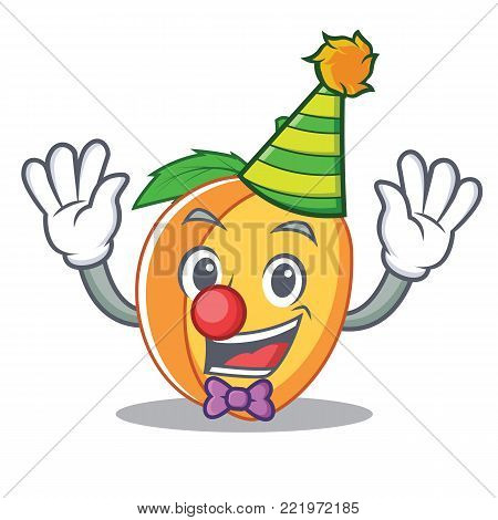 Clown apricot mascot cartoon style vector illustration