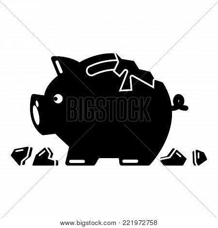 Broken piggy bank icon. Simple illustration of broken piggy bank vector icon for web
